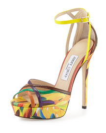 Laurita Printed Leather Platform d'Orsay Sandal, Spice Mix