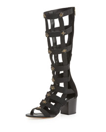 Malini Embellished Suede Gladiator Sandal, Black Mix