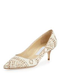 Aza Sparkle-Embellished Knit Pump, White/Honey Gold