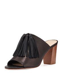 Cleo Tassel Block-Heel Mule Sandal, Black