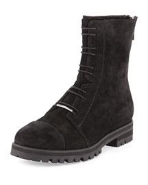 Haza Suede Tread-Sole Boot, Black