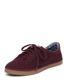 Sofie Lace-Up Flat Sneaker, Burgundy