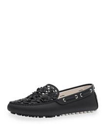 Embellished Leather Driving Loafer, Black