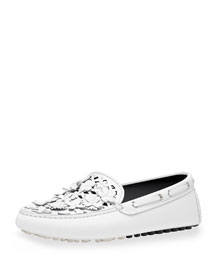 Embellished Leather Driving Loafer, White