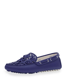 Embellished Leather Driving Loafer, Navy