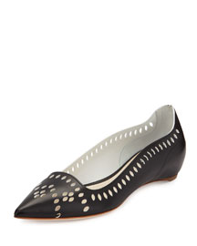 Laser-Cut Leather Point-Toe Flat, Black