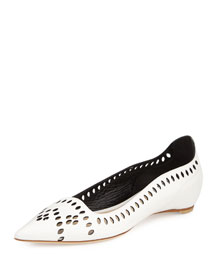 Laser-Cut Leather Point-Toe Flat, White