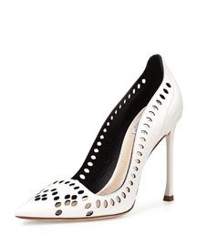 Laser-Cut Leather 100mm Pump, White