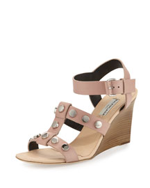 Studded Leather Wedge Sandal, Beige/Sienne