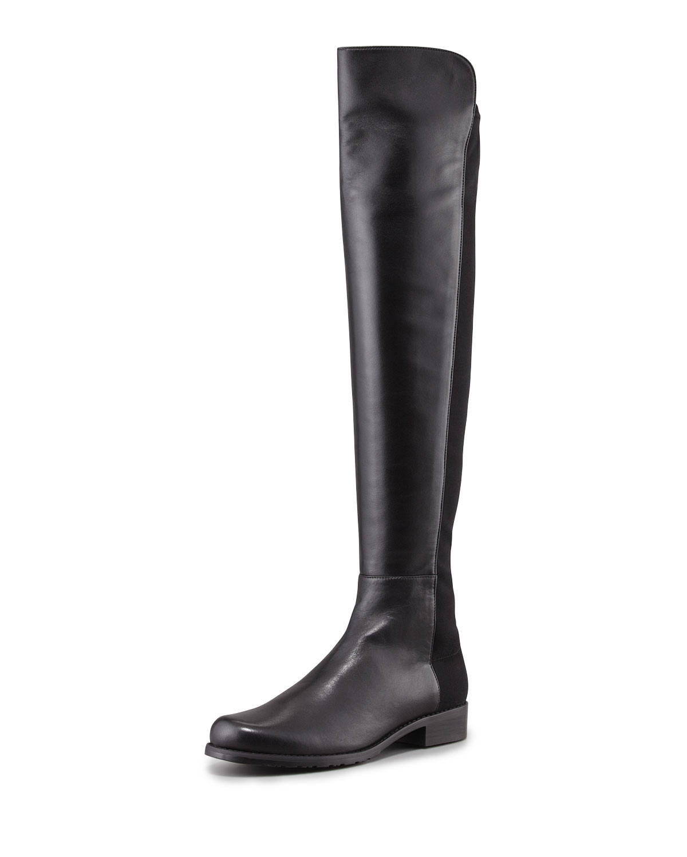 Stuart Weitzman 50/50 Napa Stretch Over-the-Knee Boot, Black, Women's, Size: 39.5B/9.5B