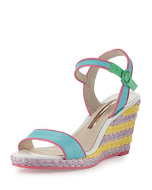 Lucita Malibu Leather Espadrille Demi Wedge Sandal, Multi Colors