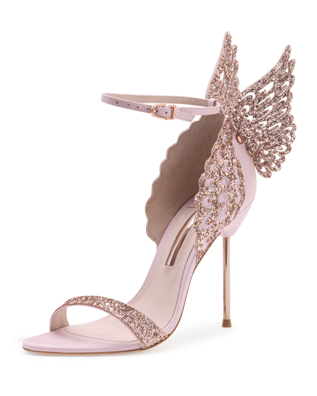 Sophia Webster Evangeline Glittered Butterfly Sandal, Pink, Women's, Size: 38.0B/8.0B, Pink Glitter