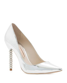 Coco Metallic Crystal-Heel Pump, Silver