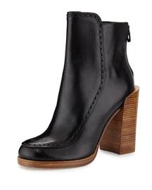 Jasper Saddle-Stitch Leather Bootie, Black