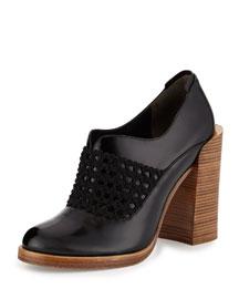 Claridge Open-Weave Leather Bootie, Black