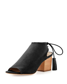 Lorelei Suede Open-Toe Ankle Boot, Black