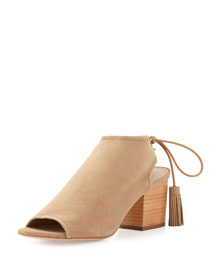 Lorelei Suede Open-Toe Ankle Boot, Natural
