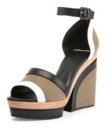 Charlotte Canvas Wedge Sandal, Multi/Khaki