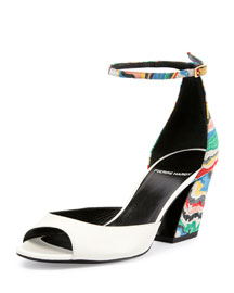 Calamity Printed Leather d'Orsay Sandal, White/Multi