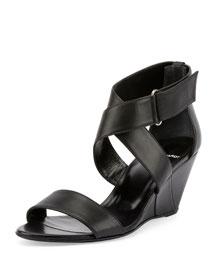Crisscross Leather Wedge Sandal, Black