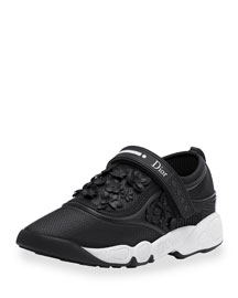 Floral-Embroidered Leather Sneaker, Black