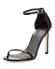Nudistsong Patent Ankle-Strap Sandal, Black
