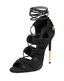 Ruched Suede Lace-Up Sandal, Black