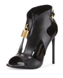 Padlock Leather Cutout Stiletto Bootie, Black