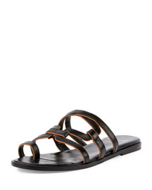 Kaliste Leather Toe-Ring Flat Sandal, Black/Tan