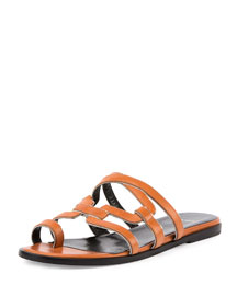 Kaliste Leather Toe-Ring Flat Sandal, Tan/Gold