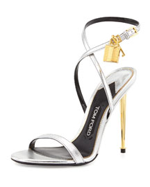 Metallic Leather Ankle-Lock Sandal, Silver