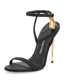 Leather Padlock Ankle-Wrap Sandal, Black