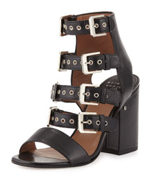 Kloe Leather Buckle Cage Sandal, Black