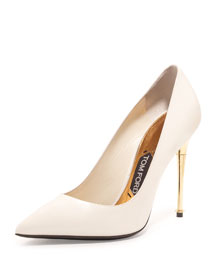 Patent 105mm Pin-Heel Pump, Chalk