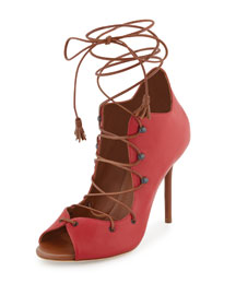 Savannah Leather Lace-Up Pump, Cherry