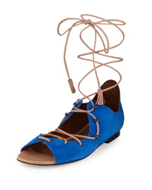 Savannah Suede Lace-Up Flat Sandal, Majorelle Blue