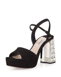 Suede Jewel-Heel Platform Sandal, Black (Nero)