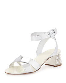 Metallic Leather Jewel-Heel Sandal, Silver (Argento)