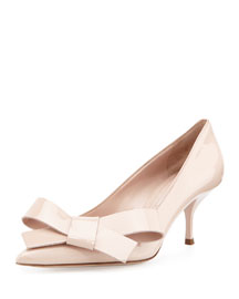 Patent Leather Bow Pump, Powder