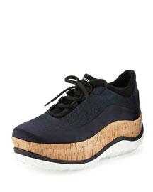 Colorblock Cork Platform Sneaker, Blue (Bleu)