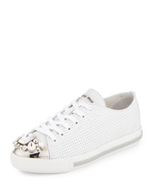 Jeweled Cap-Toe Low-Top Sneaker, White (Bianco)