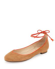 Polly Ankle-Wrap Skimmer Flat, Caramel/Orange