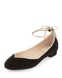 Polly Ankle-Wrap Skimmer Flat, Black/Gold