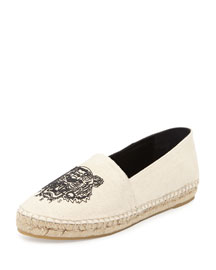 Tiger-Embroidered Canvas Espadrille Flat, Mastic