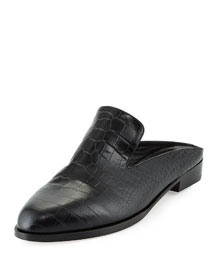 Alice Croc-Embossed Leather Flat Mule, Black