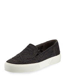 Woven Raffia Slip-On Sneaker, Black