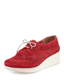 Vicole Woven Raffia Demi-Wedge Sneaker, Red