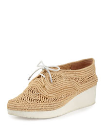 Vicole Woven Raffia Demi-Wedge Sneaker, Natural
