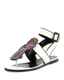 Scoubi Pop Flat Leather Sandal, White