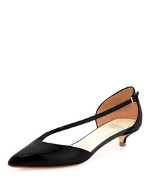 Diagonal-Strap Kitten-Heel Pump